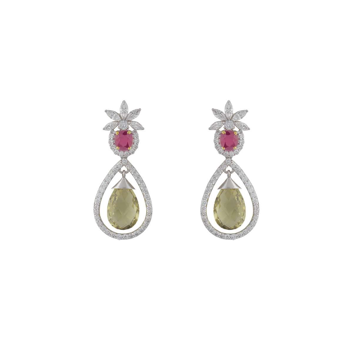 14k White Gold Diamond and Multi-Gemstone Drop Earrings